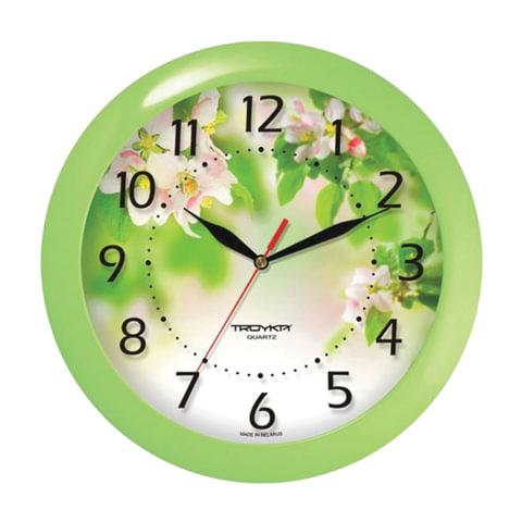 Часы настенные TROYKA 11121186, круг, белые с рисунком
