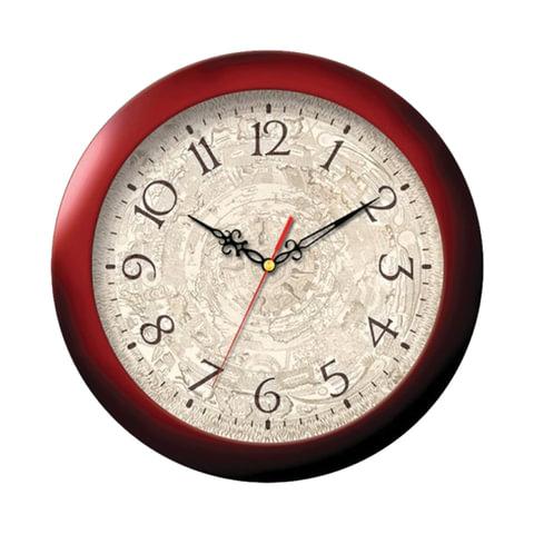 Часы настенные TROYKA 11131149, круг, бежевые с рисунком, коричневая рамка, 29х29х3,5 см