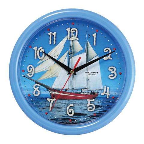 Часы настенные TROYKA 21241250, круг, голубые с рисунком