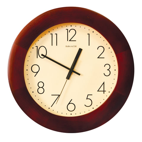 Часы настенные САЛЮТ ДС-2ББ28-012.2, круг, бежевые, деревянная рамка, 31х31х4,5 см