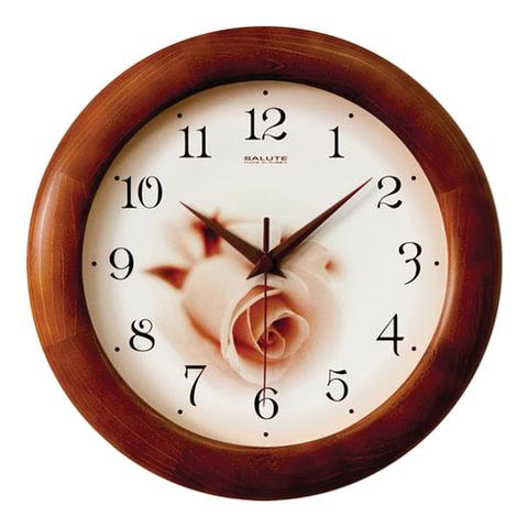 Часы настенные САЛЮТ ДС-ББ28-432, круг, бежевые с рисунком