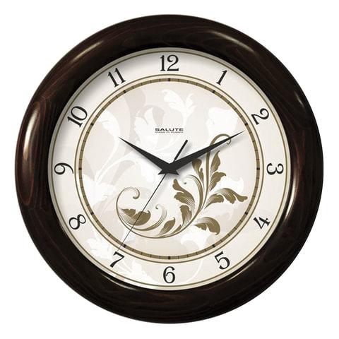 Часы настенные САЛЮТ ДС-ББ6-024, круг, белые с рисунком, деревянная рамка, 31х31х4,5 см