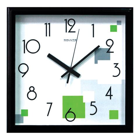 Часы настенные САЛЮТ П-2А6-101, квадрат, голубые с рисунком