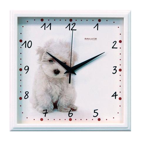 Часы настенные САЛЮТ П-2А7-391, квадрат, белые с рисунком