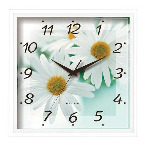 Часы настенные САЛЮТ П-2А7-456, квадрат, белые с рисунком