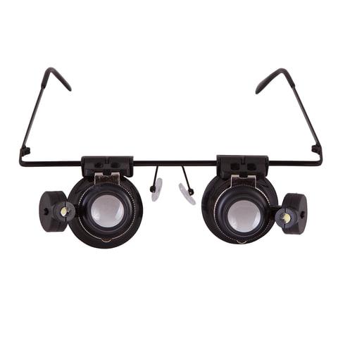 Лупа-очки LEVENHUK Zeno Vizor G2, увеличение х20, диаметр линз 15 мм, подсветка, металл/пластик, 69672