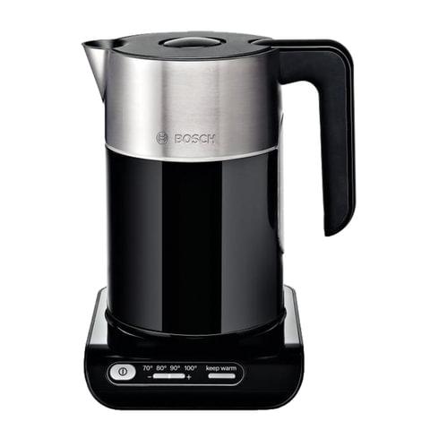Чайник BOSCH TWK8613P, 1,5 л, 2400 Вт, закрытый нагревательный элемент, нержавеющая сталь, черный