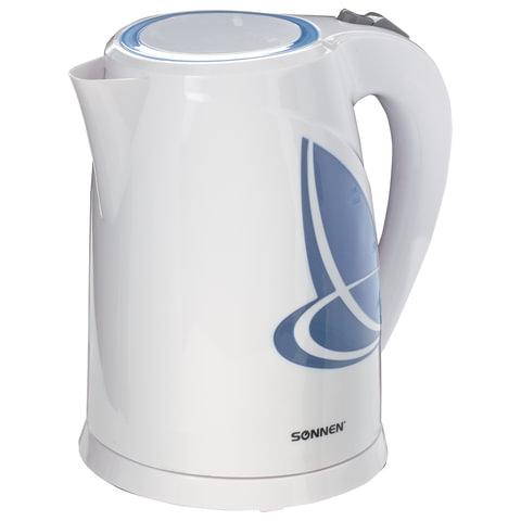 Чайник SONNEN KT-1767, 1,8 л, 2200 Вт, закрытый нагревательный элемент, пластик, белый/синий, 453416