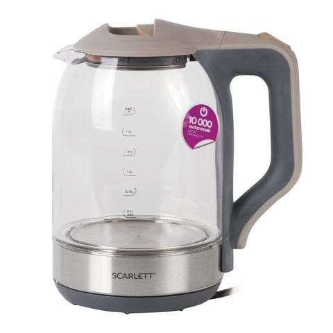 Чайник SCARLETT SC-EK27G42, 1,7 л, 1800 Вт, закрытый нагревательный элемент, стекло, серый, SC - EK27G42