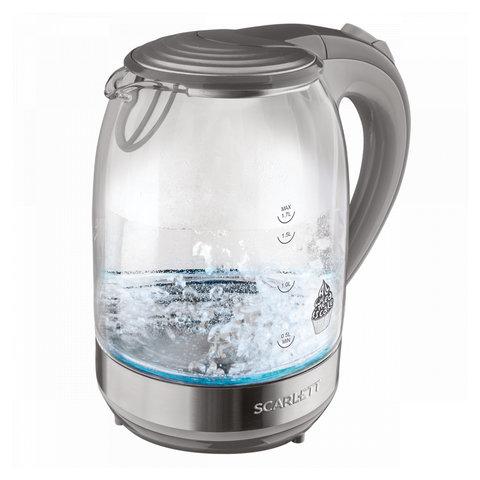Чайник SCARLETT SC-EK27G64, 1,7 л, 2200 Вт, закрытый нагревательный элемент, стекло, серый