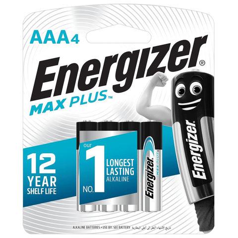 Батарейки ENERGIZER Max Plus, AAA (LR03, 24А), алкалиновые, КОМПЛЕКТ 4 шт., в блистере, E301321701