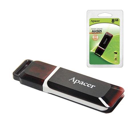 Флэш-диск 8 GB, APACER Handy Steno AH321, USB 2.0, карминно-красный, AP8GAH321R-1
