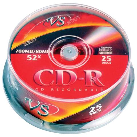 Диски CD-R VS 700 Mb 52x, КОМПЛЕКТ 25 шт., Cake Box, с поверхностью для печати, VSCDRIPCB2501