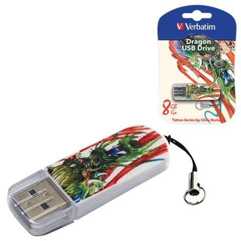 Флеш-диск 8 GB, VERBATIM Mini Tattoo Edition Dragon, USB 2.0, белый с рисунком, 49884
