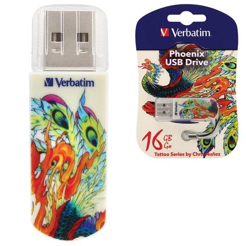 Флэш-диск 16 GB, VERBATIM Mini Tattoo Edition Phoenix, USB 2.0, белый с рисунком, 49887