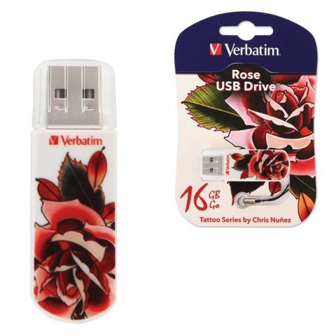 Флэш-диск 16 GB, VERBATIM Mini Tattoo Edition Rose, USB 2.0, белый с рисунком, 49885