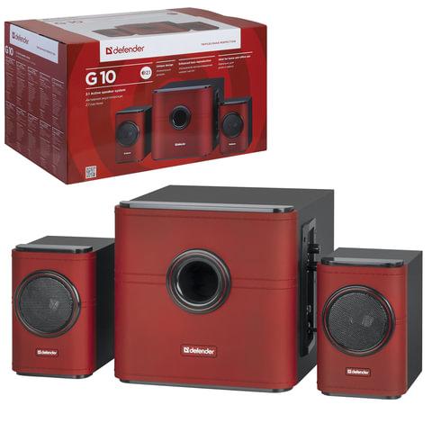 Колонки компьютерные DEFENDER G10, 2.1, 2х7,5 Вт, 1х15 Вт, деревянный корпус, красные, 65516