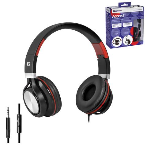 Наушники с микрофоном (гарнитура) DEFENDER Accord 175, проводная, 1,2 м, черная с красным, 63175