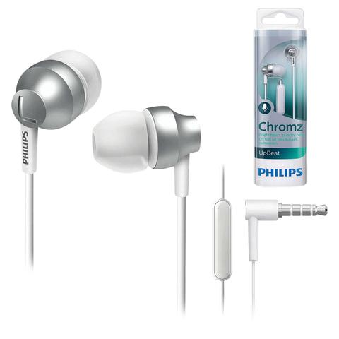 Наушники с микрофоном (гарнитура) PHILIPS SHE3855SL/00, проводная, 1,2 м, вкладыши, стерео, белые