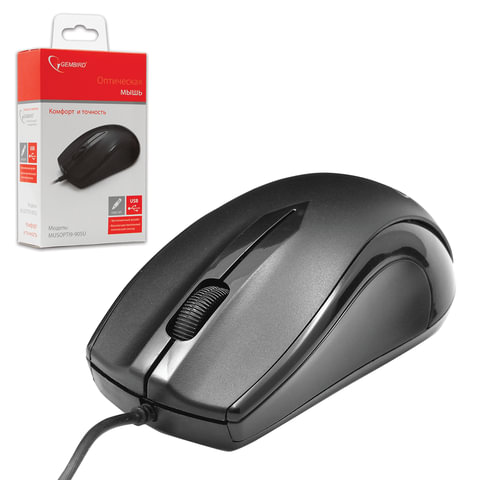 Мышь проводная GEMBIRD MUSOPTI9-905U, USB, 2 кнопки + 1 колесо-кнопка, оптическая, черная