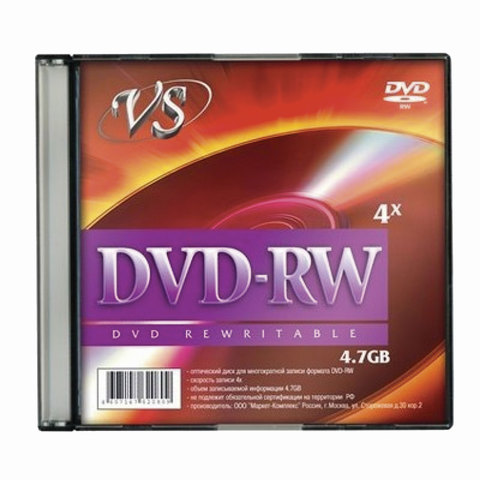 Диск DVD-RW, VS, 4,7 Gb, 4 x Slim Case, 1 штука, VSDVDRWSL01