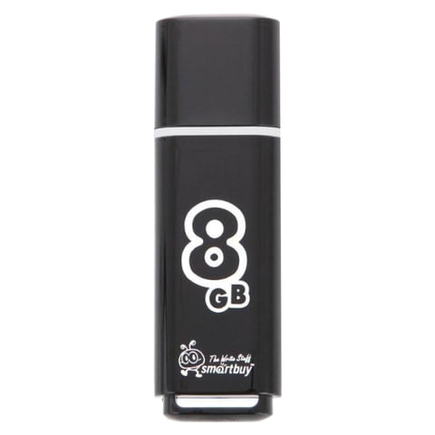 Флеш-диск 8 GB, SMARTBUY Glossy, USB 2.0, черный, SB8GBGS-K