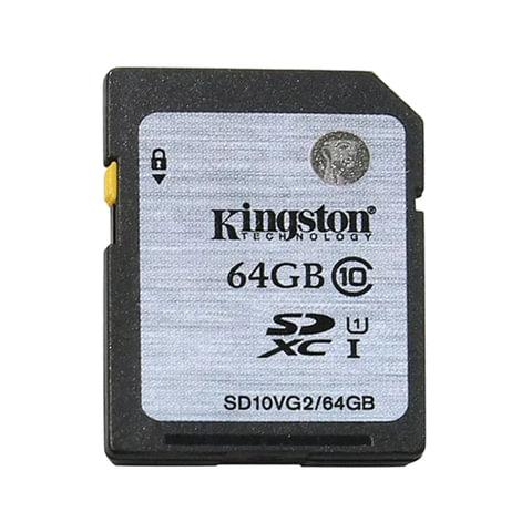 Карта памяти SDXC, 64 GB, KINGSTON, UHS-I U1, 45 Мб/сек. (class 10), SD10VG2/64GB