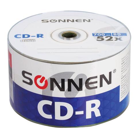 Диски CD-R SONNEN 700 Mb 52x Bulk, КОМПЛЕКТ 50 шт., 512571
