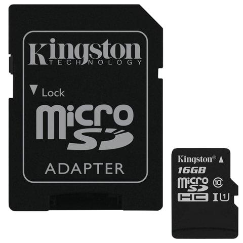 Карта памяти micro SDHC,16 GB, KINGSTON Canvas Select, UHS-I U1, 80 Мб/сек. (class 10), адаптер, SDCS/16GB