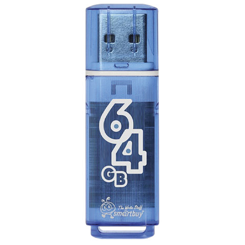 Флэш-диск 64 GB, SMARTBUY Glossy, USB 2.0, синий, SB64GBGS-B