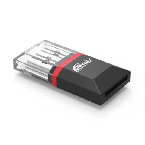 Картридер RITMIX CR-2010, USB 2.0, порт microSD, черный, 15119266