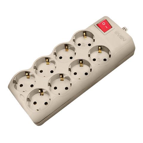 Сетевой фильтр SVEN Optima Pro, 8 розеток, 1,8 м, серый, SV-015350