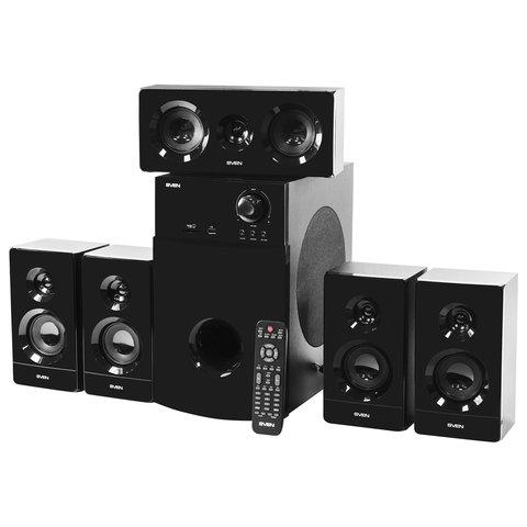 Колонки компьютерные SVEN HT-210, 5.1, 125 Вт, Bluetooth, Optical, Coaxial, FM, дерево, черные, SV-014124