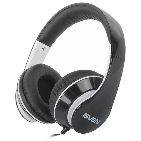 Наушники с микрофоном (гарнитура) SVEN AP-940MV, проводные, 1,2 м, с оголовьем, черно-белые, SV0410940MVBKWT