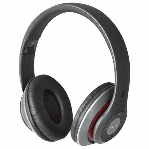 Наушники с микрофоном (гарнитура) DEFENDER FreeMotion B570, Bluetooth, беспроводные, серые с красным, 63570