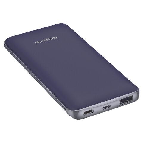 Аккумулятор внешний DEFENDER ExtraLife 8000S, 8000 mAh, 1 USB, литий-ионный, фиолетовый, 83667