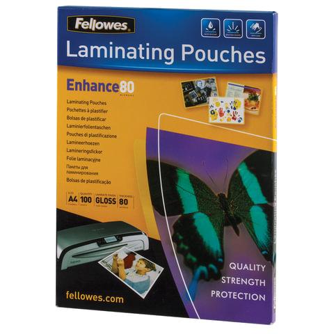 Пленки-заготовки для ламинирования, А4, КОМПЛЕКТ 100 шт., 80 мкм, FELLOWES, FS-53061