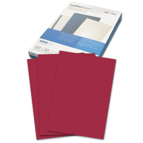 Обложки картонные для переплета А4, КОМПЛЕКТ 100 шт., тиснение под кожу, темно-красные, GBC (Англия)