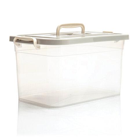 Ящик 10 л, с крышкой на защелках, 19х35х23 см, крышка с ручкой, пластик, цвет ассорти, 4381000