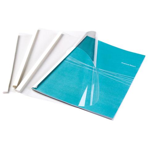 Обложки для термопереплета, А4, КОМПЛЕКТ 100 шт., 3 мм, 9-32 л., верх прозачный ПВХ, низ картон, FELLOWES, FS-53152