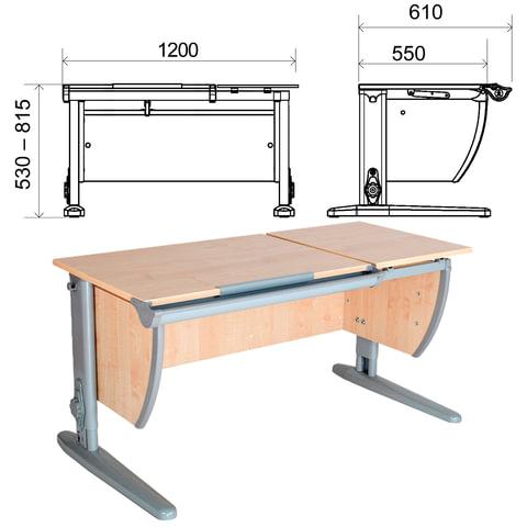 Стол-парта регулируемый ДЭМИ СУТ.17, 1200х610х530-815 мм, серый металлический каркас, ЛДСП, клен
