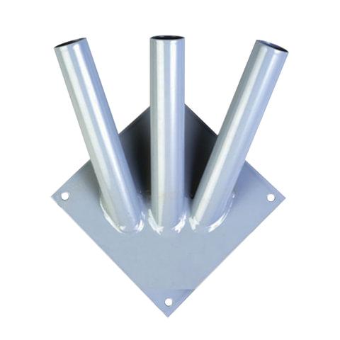 Кронштейн под флаги на три древка, квадратное основание, три точки крепления, металл