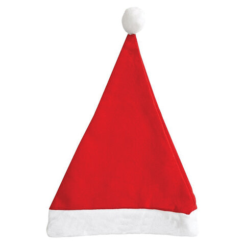 Колпак новогодний, 28х38 см, полиэстер, красно-белый, 76191, 78585