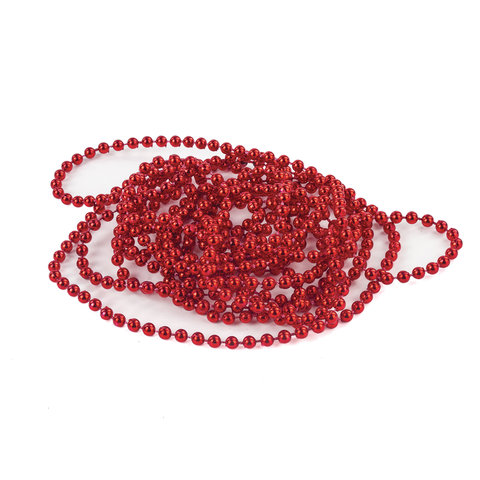 Бусы елочные ЗОЛОТАЯ СКАЗКА, диаметр 4 мм, длина 2,7 м, красные, 591140