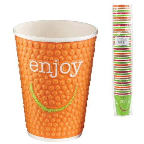 Одноразовые стаканы 300 мл, КОМПЛЕКТ 40 шт., бумажные однослойные, цветная печать, холодное/горячее, ХУХТАМАКИ