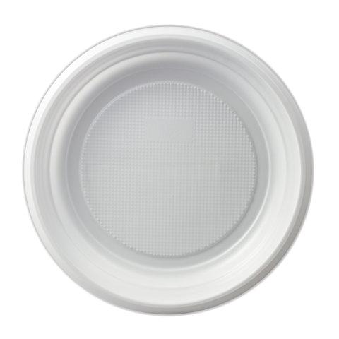 Одноразовые тарелки десертные, КОМПЛЕКТ 2700 шт. (27 упаковок по 100 штук), пластиковые, d=170 мм,