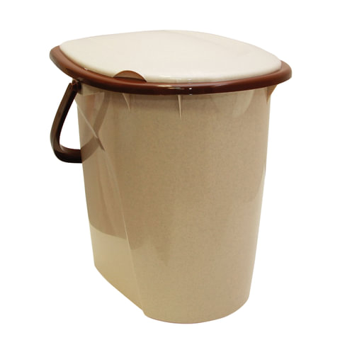Ведро- туалет 24 л, сиденье с крышкой, пластиковое, цвет бежевый мрамор, IDEA, М 2460
