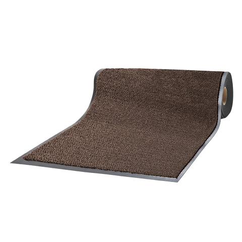 Коврик-дорожка ворсовый влаго-грязезащитный ЛАЙМА, 120х1500 см, толщина 7 мм, коричневый, 602882