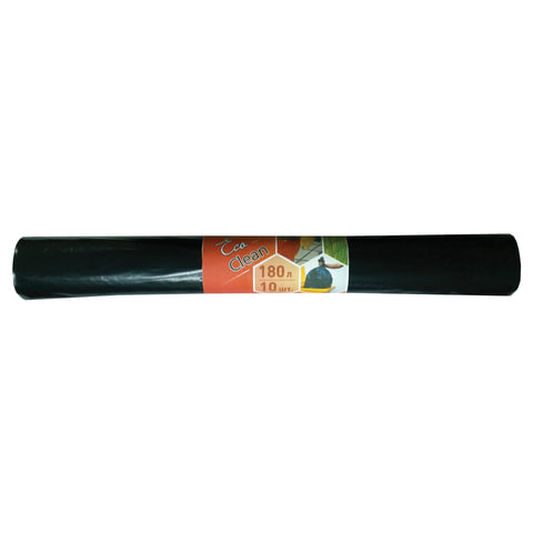 Мешки для мусора 180 л, черные, в рулоне 10 шт., ПВД, 30 мкм, 80х106 см, эконом, КОНЦЕПЦИЯ БЫТА
