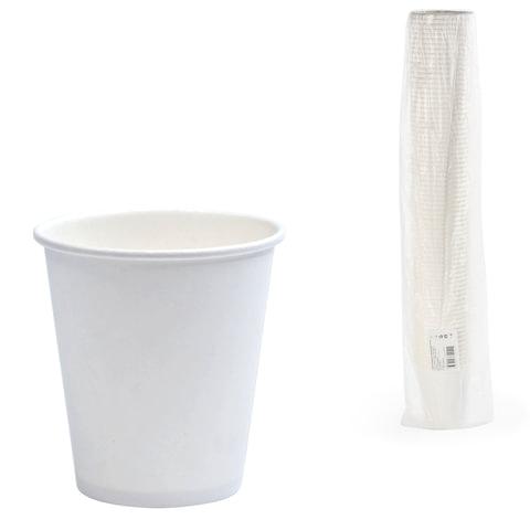 Одноразовые стаканы 250 мл, КОМПЛЕКТ 75 шт., бумажные однослойные, белые, холодное/горячее, ФОРМАЦИЯ, HB80-280-0000
